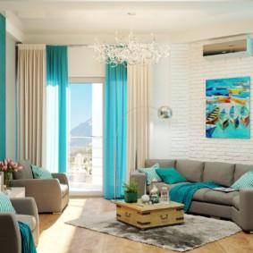 гостиная комната в голубых тонах фото дизайн