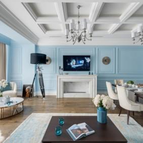 гостиная комната в голубых тонах фото дизайна