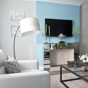 гостиная комната в голубых тонах дизайн идеи