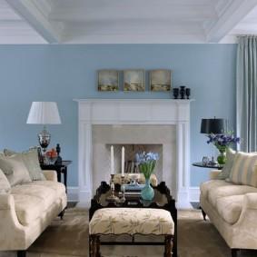 гостиная комната в голубых тонах идеи дизайн