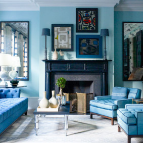 гостиная комната в голубых тонах идеи дизайна