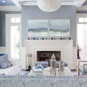 гостиная комната в голубых тонах декор фото