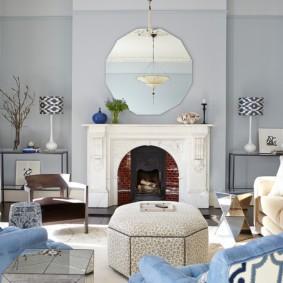 гостиная комната в голубых тонах фото декор