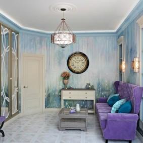 гостиная комната в голубых тонах фото декора