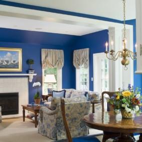 гостиная комната в голубых тонах идеи декор