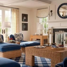 гостиная комната в голубых тонах идеи декора