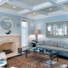 гостиная комната в голубых тонах интерьер фото