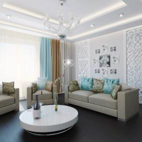 гостиная комната в голубых тонах фото интерьер