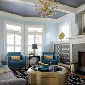 гостиная комната в голубых тонах фото интерьера
