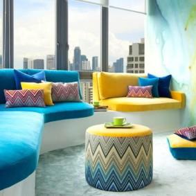 гостиная комната в голубых тонах интерьер идеи
