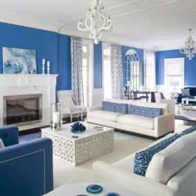 гостиная комната в голубых тонах идеи интерьер