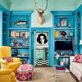 гостиная комната в голубых тонах идеи интерьера