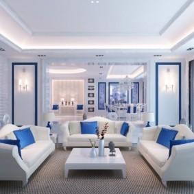 гостиная комната в голубых тонах оформление