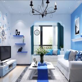 гостиная комната в голубых тонах оформление фото