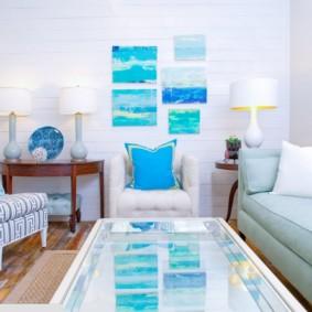 гостиная комната в голубых тонах фото оформление