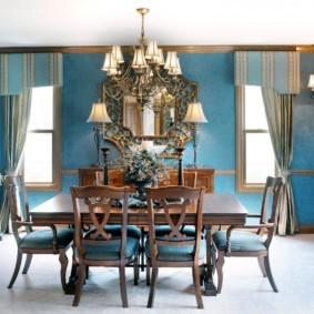 гостиная комната в голубых тонах фото