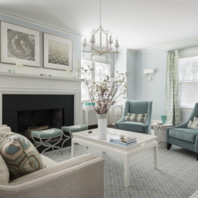 гостиная комната в голубых тонах оформление идеи