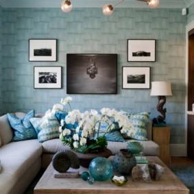 гостиная комната в голубых тонах идеи оформление