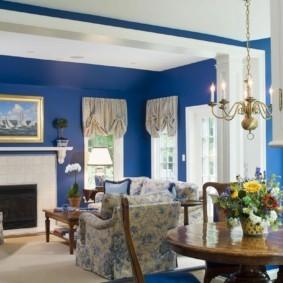 гостиная комната в голубых тонах идеи оформления