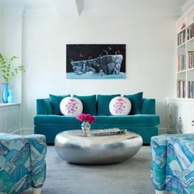 гостиная комната в голубых тонах варианты