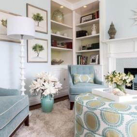 гостиная комната в голубых тонах варианты фото