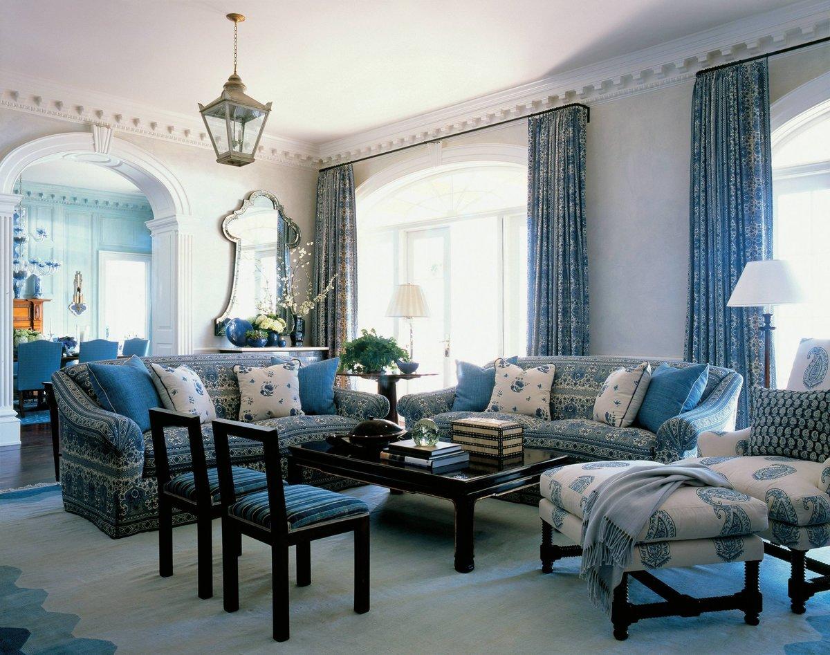 гостиная комната в голубых тонах декор идеи