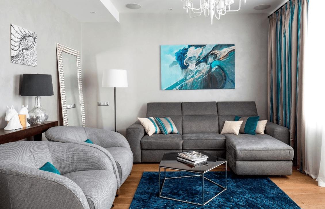 гостиная комната в голубых тонах дизайн фото