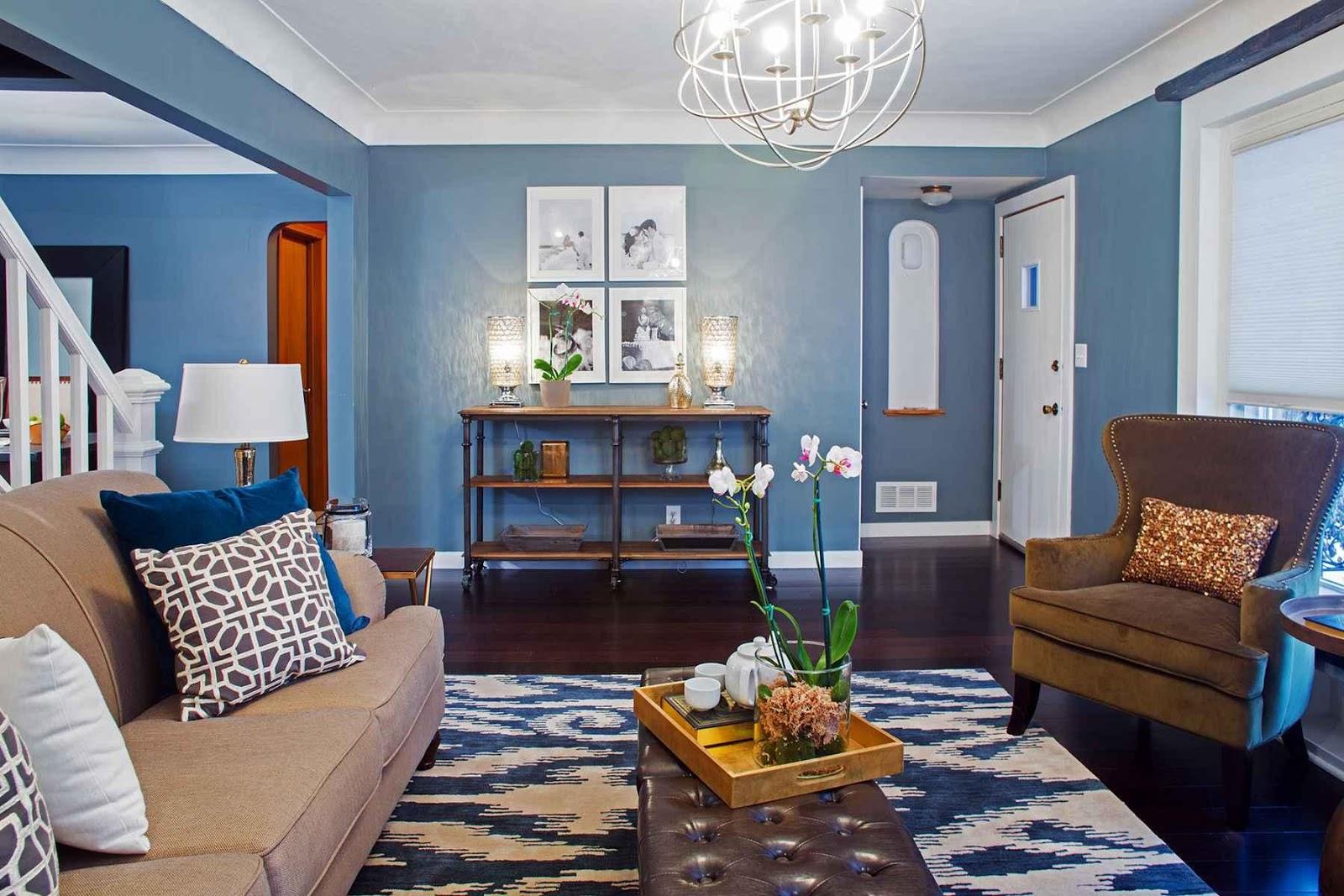 гостиная комната в голубых тонах идеи фото