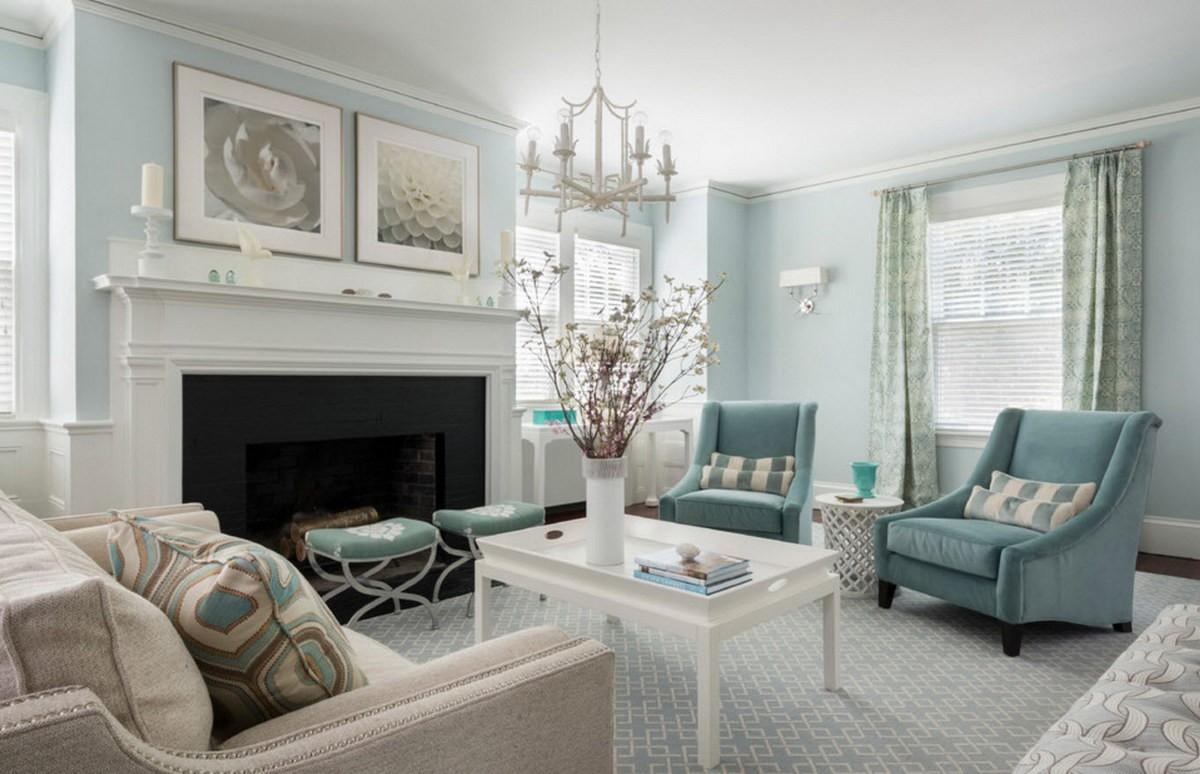 гостиная комната в голубых тонах классика