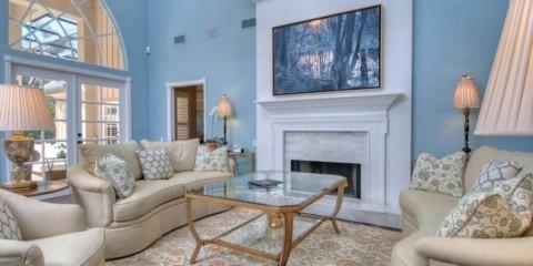 гостиная комната в голубых тонах мебель