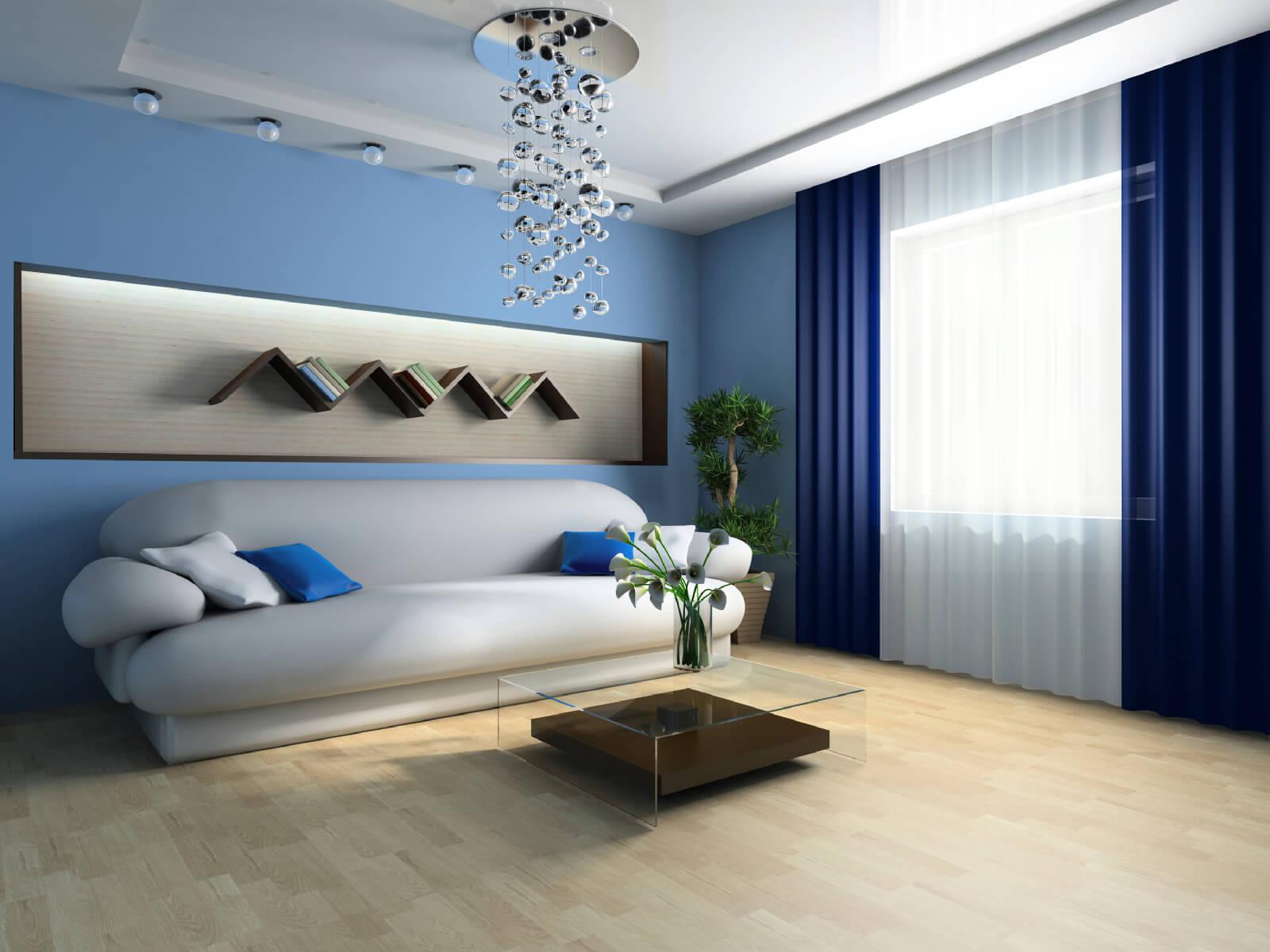 гостиная комната в голубых тонах минимализм