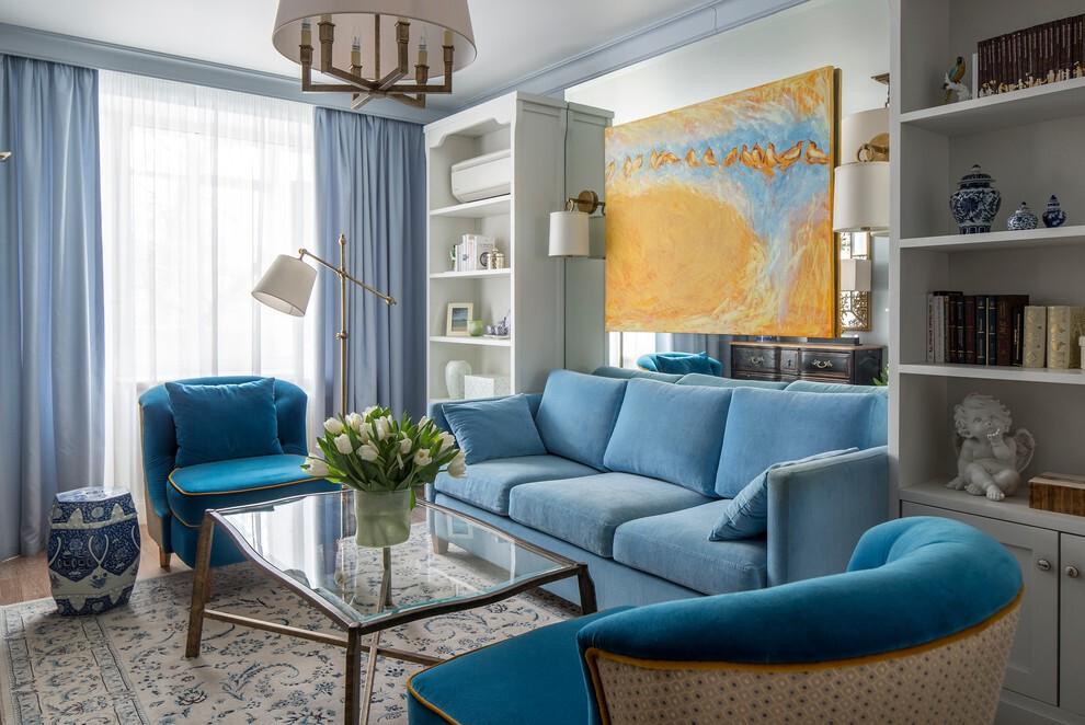 гостиная комната в голубых тонах шторы