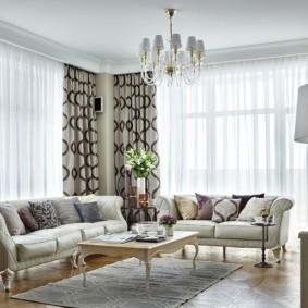 гостиная комната в светлых тонах интерьер фото