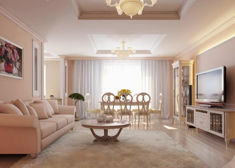 гостиная комната в светлых тонах фото
