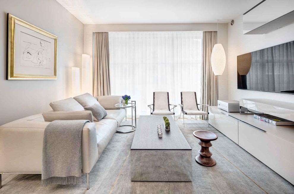гостиная комната в светлых тонах мебель