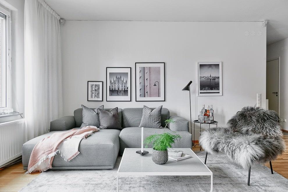 гостиная комната в светлых тонах скандинавский стиль