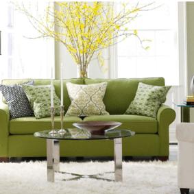 гостиная комната в зелёном цвете идеи