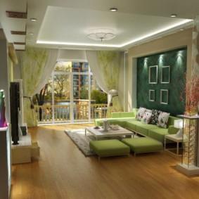 гостиная комната в зелёном цвете дизайн идеи