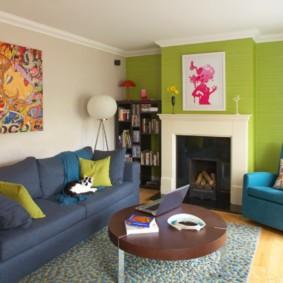 гостиная комната в зелёном цвете идеи дизайн