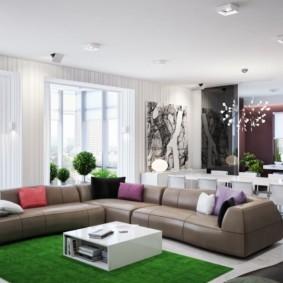 гостиная комната в зелёном цвете
