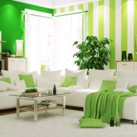 гостиная комната в зелёном цвете фото декор