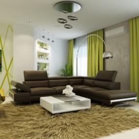 гостиная комната в зелёном цвете декор идеи