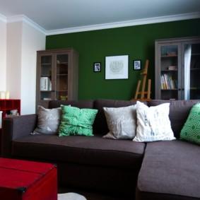 гостиная комната в зелёном цвете идеи декор