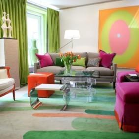 гостиная комната в зелёном цвете идеи декора