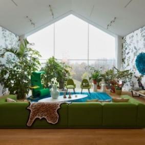 гостиная комната в зелёном цвете интерьер
