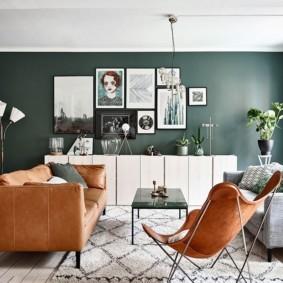 гостиная комната в зелёном цвете интерьер фото
