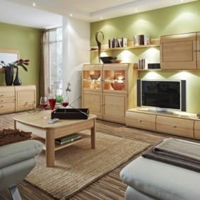 гостиная комната в зелёном цвете идеи интерьер