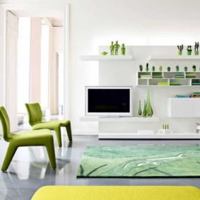 гостиная комната в зелёном цвете оформление