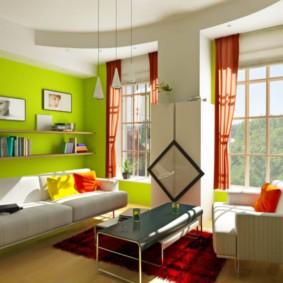 гостиная комната в зелёном цвете фото оформления