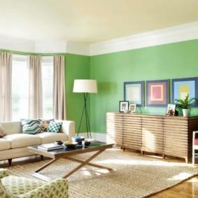 гостиная комната в зелёном цвете оформление идеи